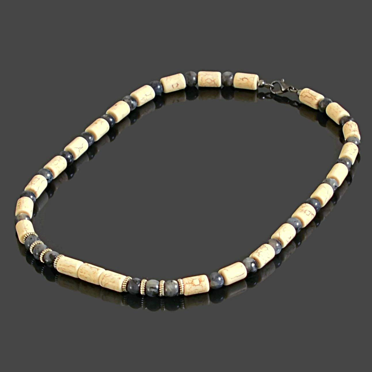 Native American Inspired Tribal Men's Necklace featuring White Howlite and Labradorite Choker Necklace for Men Handmade Jewelry