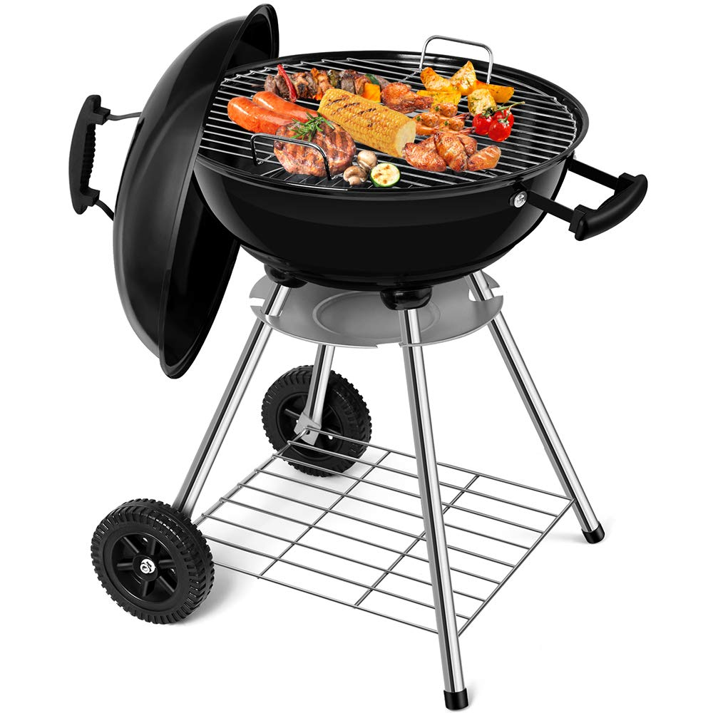 18 inch Portable Charcoal Grill Small Camping Grills Outdoor Cooking Charcoal Barbecue Grill and Smoker BBQ Kettle Grill Patio Standing Heat Control Round Grill with Wheels for Travel Tailgate Picnic
