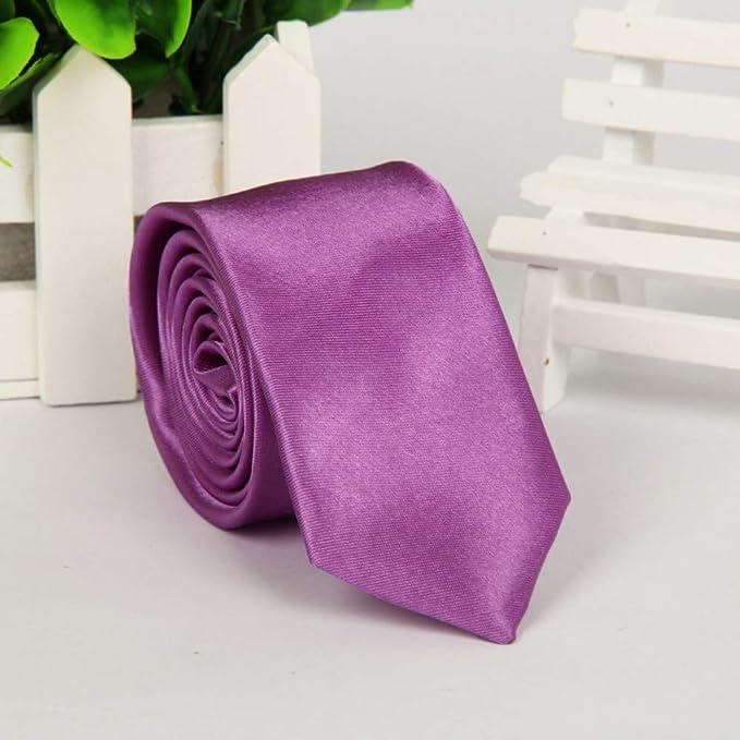 Wangwang454 Unisex Casual Narrow Edition Corbata de Color sólido ...