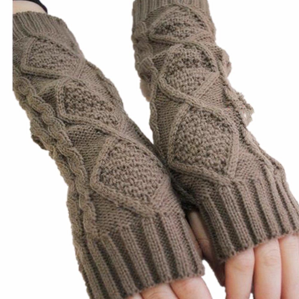 LI& HI Damen Accessory Schnee Trendige gestrickte Rhombus Handschuhe kaninchen HANDSCHUHE STULPEN