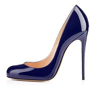 EDEFS Damen PU Leder Hoher Absatz Runde Zehe Pumps Stiletto Schuhe Blau  Größe EU35 9dc5a40993