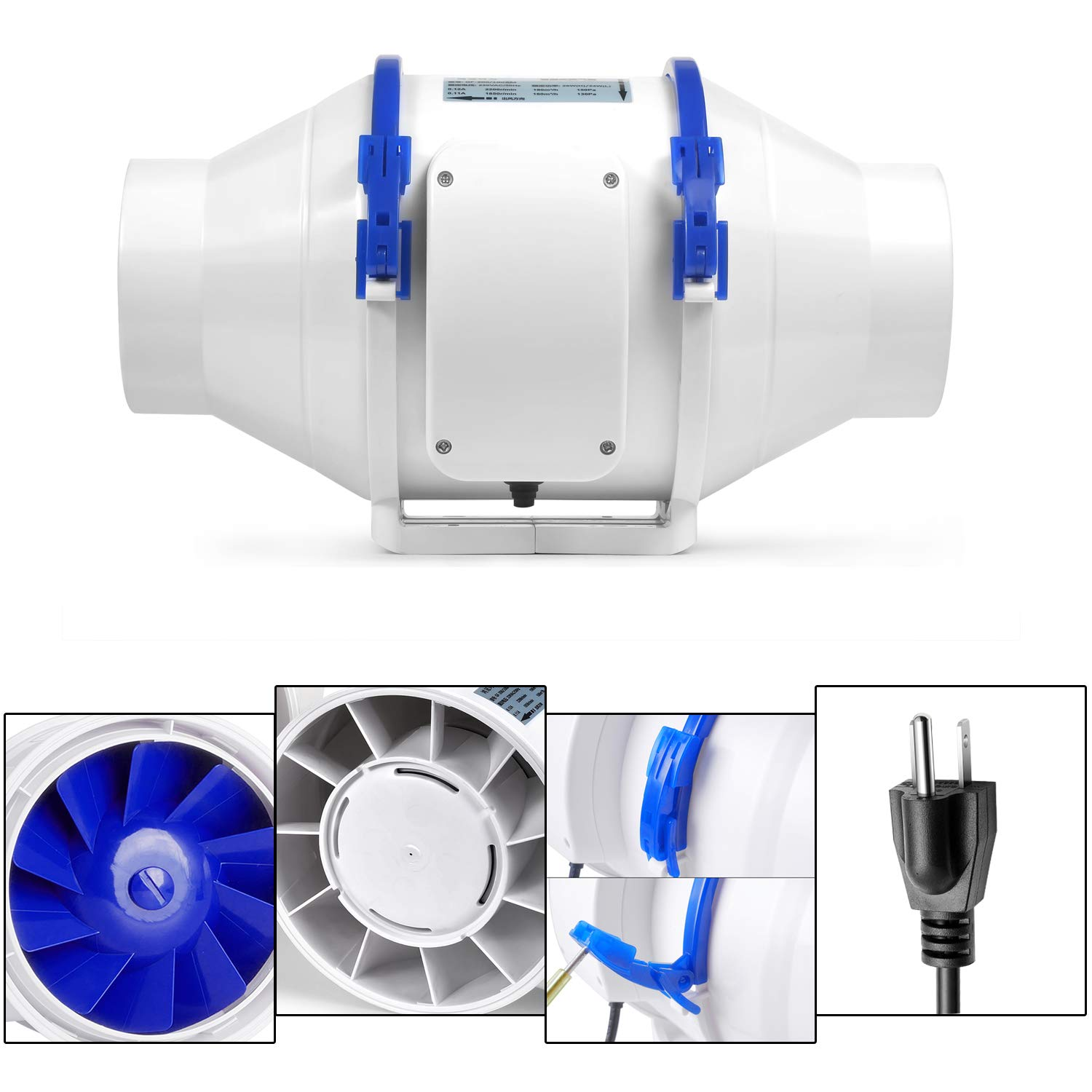 Grow Tents Hydroponics Hon/&Guan Inline Duct Fan with Smart Dual Speed Controller 311 CFM 6 Inch Ventilation Exhaust Fan for Heating Cooling Booster