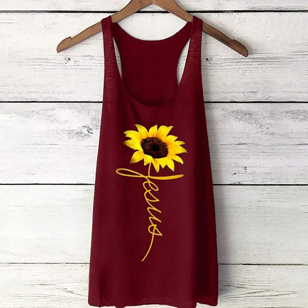 Overdose Womens Vest Casual Long Loose Top Sleeveless Sunflower Print Tank Sport Pullover Cotton Tunic Top