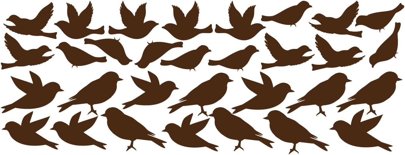Innovative Stencils Bird Wall Decal Stickers Peel and Stick Decor Flying and Sitting Removable and Reusable Vinyl Wall Art Decor Addon for Large Tree Decals #1387 (Large, Matte Brown)