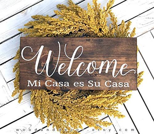 Mi Casa ES Su Casa, Welcome Wood Sign, Entry Decor, Welcome in Spanish, Rustic Home Decor, Housewarming Gift, Welcome Sign, Wooden, Signs (Mi Casa Wall Art Su Casa Es)