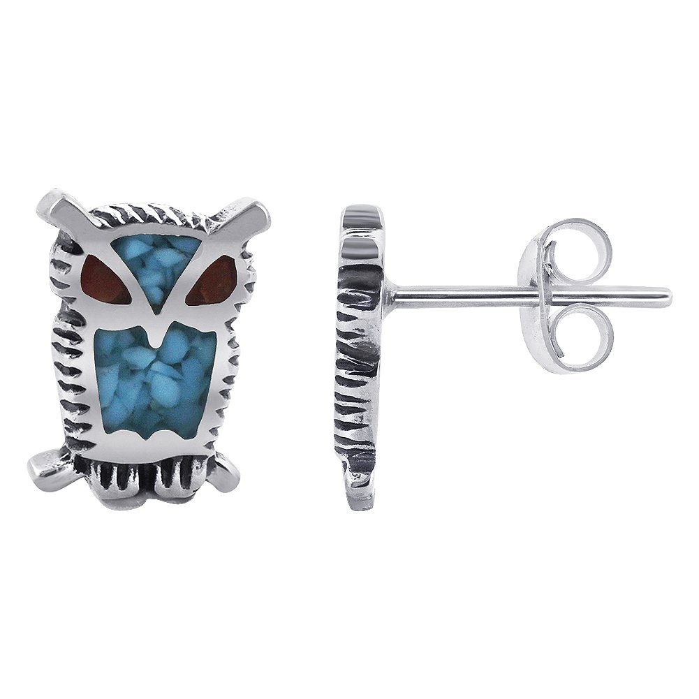 Gem Avenue 925 Sterling Silver Turquoise Southwestern Style Coral Owl Post Back Stud Earrings