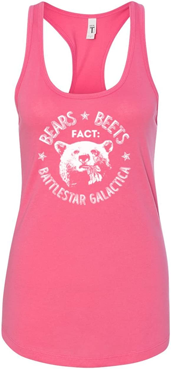Office | Fact Bears Beets Battlestar Quote | Womens Pop Culture Jersey Racerback Tank Top