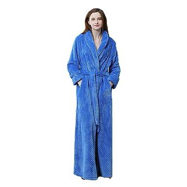 90756c1399 MiaoFan Unisex Couple Flannel Dressing Gown Fluffy Long Sleeve Wrap Bathrobe  Thermal Plus Size Housecoat (