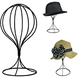 Padshow Freestanding Hat Rack Wire Ball Hat Stand/Wig Holder Storage Display Stand,Black Metal