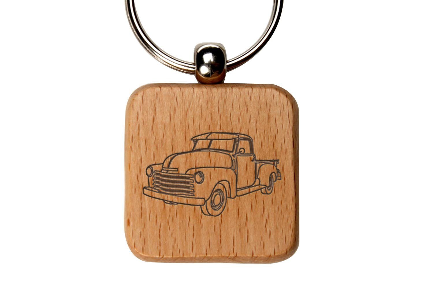 Old Truck Custom Engraved Wooden Square Key Chain By NDZ Performance