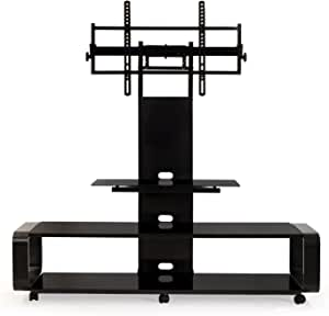 TransDeco Curved Wood TV Stand with mount for 35 to 85 inch TV Black