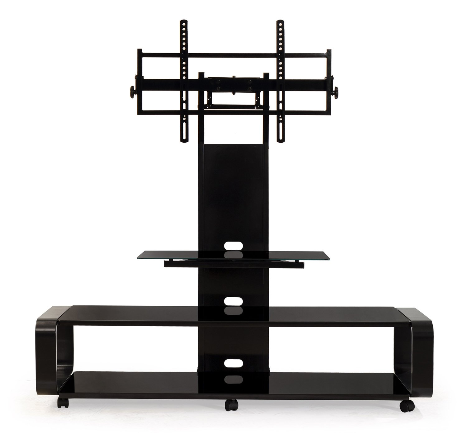 TransDeco Curved Wood TV Stand with mount for 35 to 85 inch TV TD685B Black