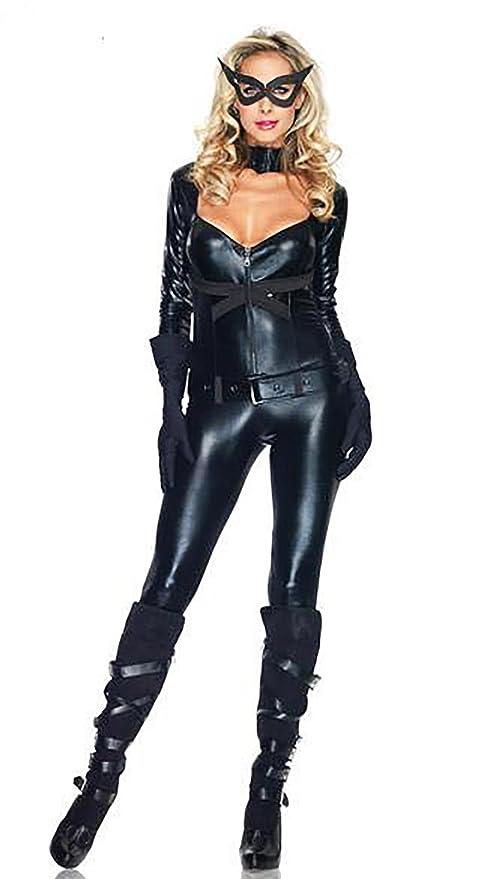 CHEN Disfraz de Catwoman para Mujer Wet Look NeckV Bodysuit ...