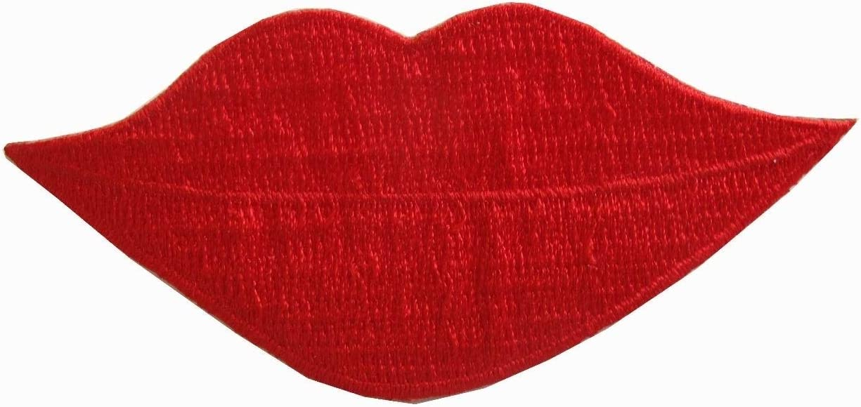 Sew on Patches Badge DIY Craft Spk Art 3 5//8 Red Lip Embroidery Iron On Applique Patch