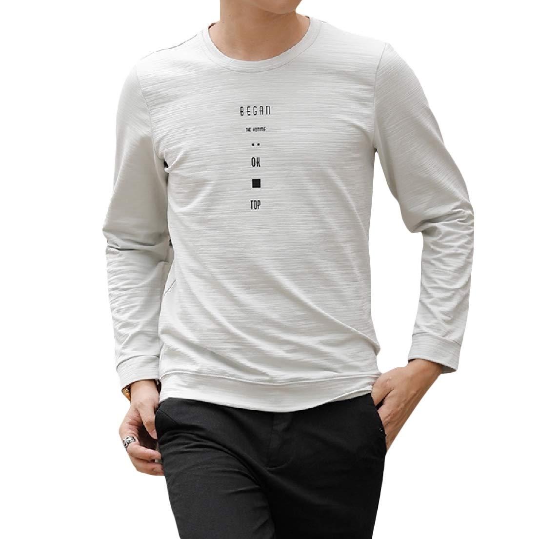 Vska Mens Print Crew-Neck Long Sleeve Leisure Comfort Sweatshirt