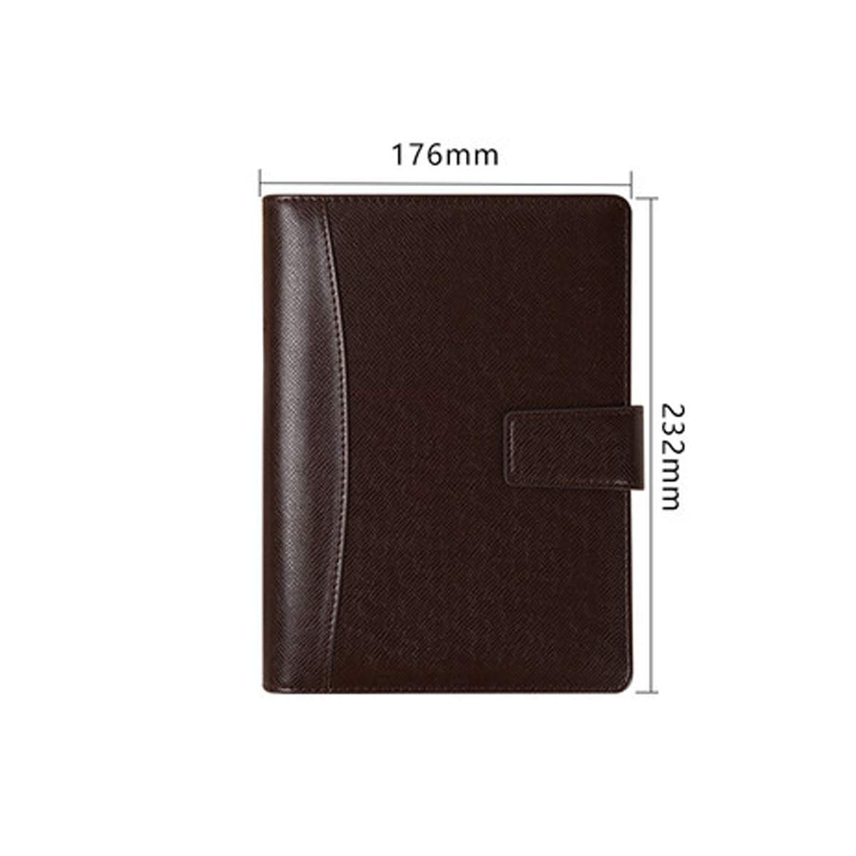 HAOYUSHANGMAO Business Gift Notebook, Gift Box Set, Thickened Simple Notepad, Company Work Meeting Record Book, Creative Stationery Leather Loose-Leaf Book, Best Gift (Color : Brown, Style : A5)