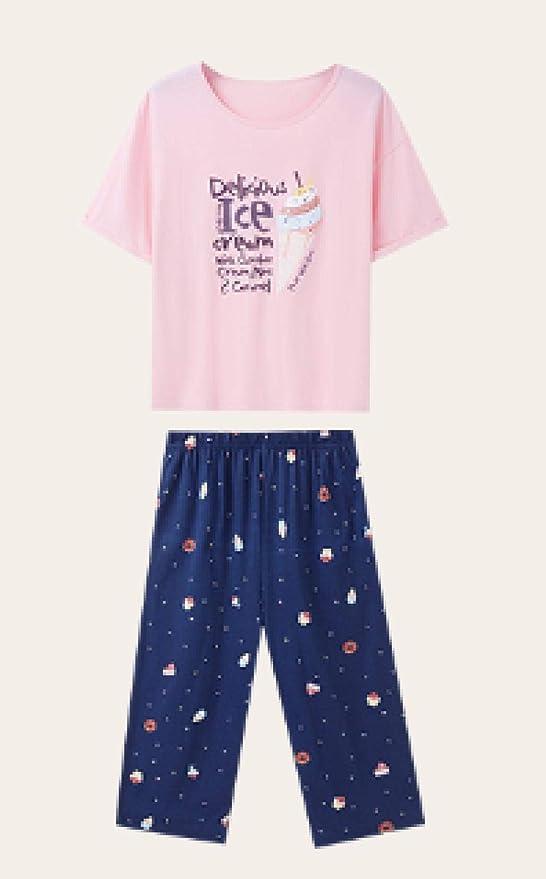 lxylllzs Pijama Mujer Casa 2 Piezas,Pijama de algodón de ...