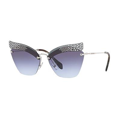 Prada Damen Sonnenbrille 0PR04US VIP5R0, Grau (Transparent Grey/Blue Siver), 43