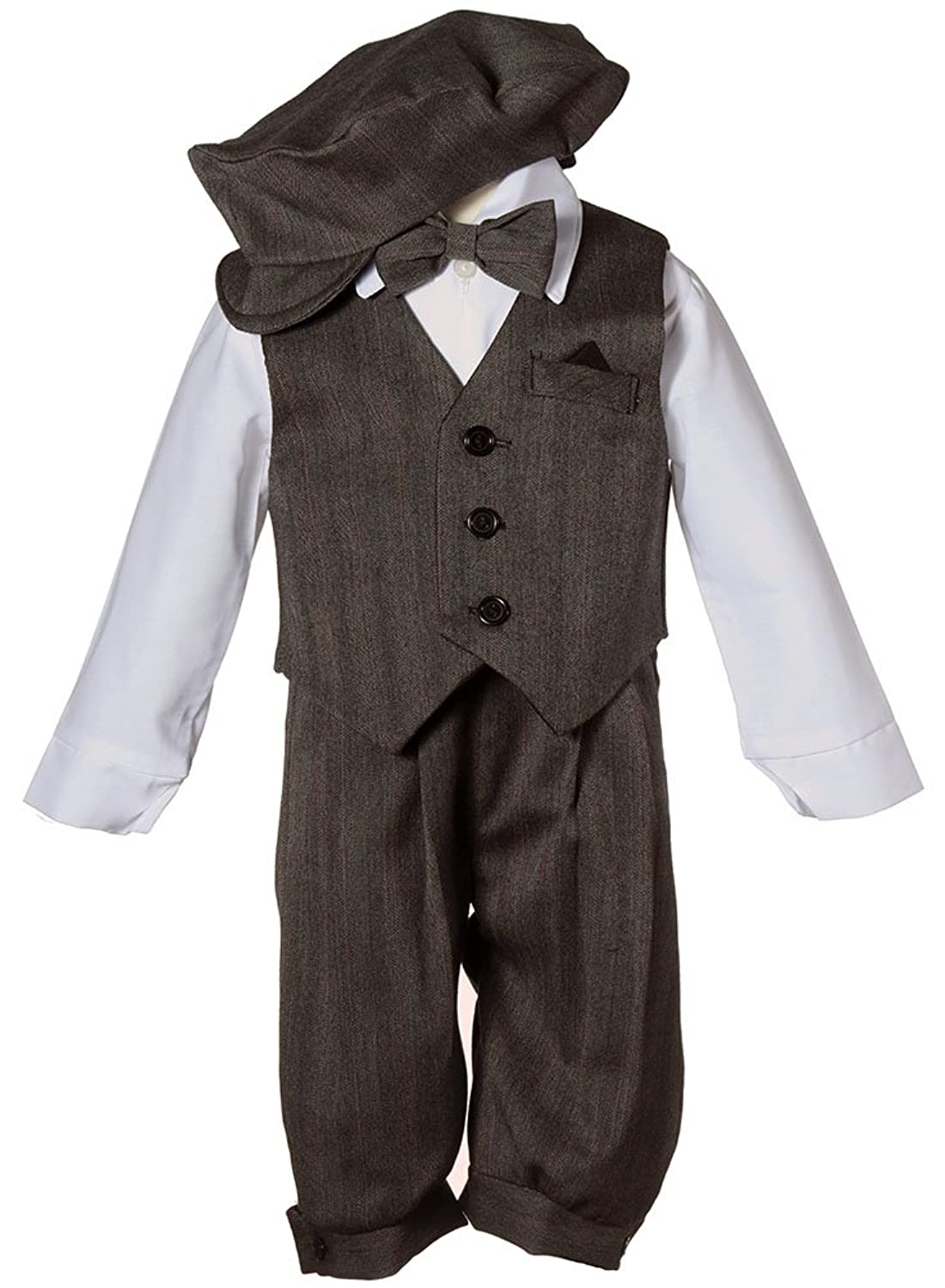 1930s Childrens Fashion: Girls, Boys, Toddler, Baby Costumes Boys Toddler Knicker Set with Vest and Hat - Vintage Grey Stripe $34.95 AT vintagedancer.com