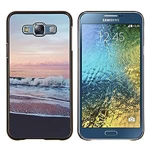 TECHCASE---Cubierta de la caja de protección para la piel dura ** Samsung Galaxy E7 E700 ** --Sea View Pink Sky Horizon Beach