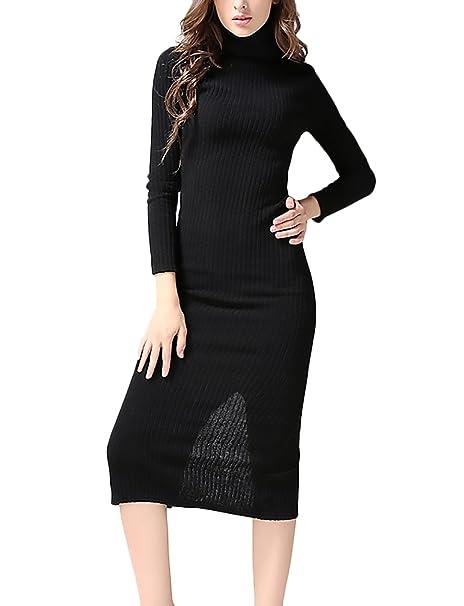 Saoye Fashion Vestido Punto Mujer Elegantes Vestido Invierno Vestido Manga Larga Niñas Ropa Vestido High Collar
