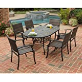 Home Styles 5601-33812 Stone Harbor 7-Piece Dining Set with Table and Newport Arm Chairs, Slate/Black/Brown Finish, 65-Inch