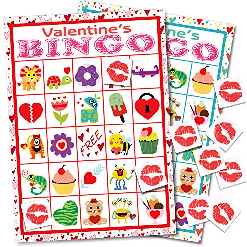 Valentine's Day Bingo Game Cards for Kids Class Party Supplies Activity - 24 Players ()