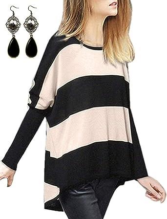 sitengle Mujer Jersey de Lana Manga del Batwing Rayas Camisa Blusa Suéter Primavera Caliente Casual Cardigan Outwear Pullover Tops: Amazon.es: Ropa y accesorios
