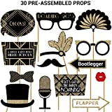 Roaring 20s Photo Booth Props | FULLY ASSEMBLED | New Years Eve Party Supplies 2020 | REAL GLITTER | Great Gatsby Party Decorations Gold | Vintage 1920s, Speakeasy, Prohibition, | NO DIY (30 Pieces)