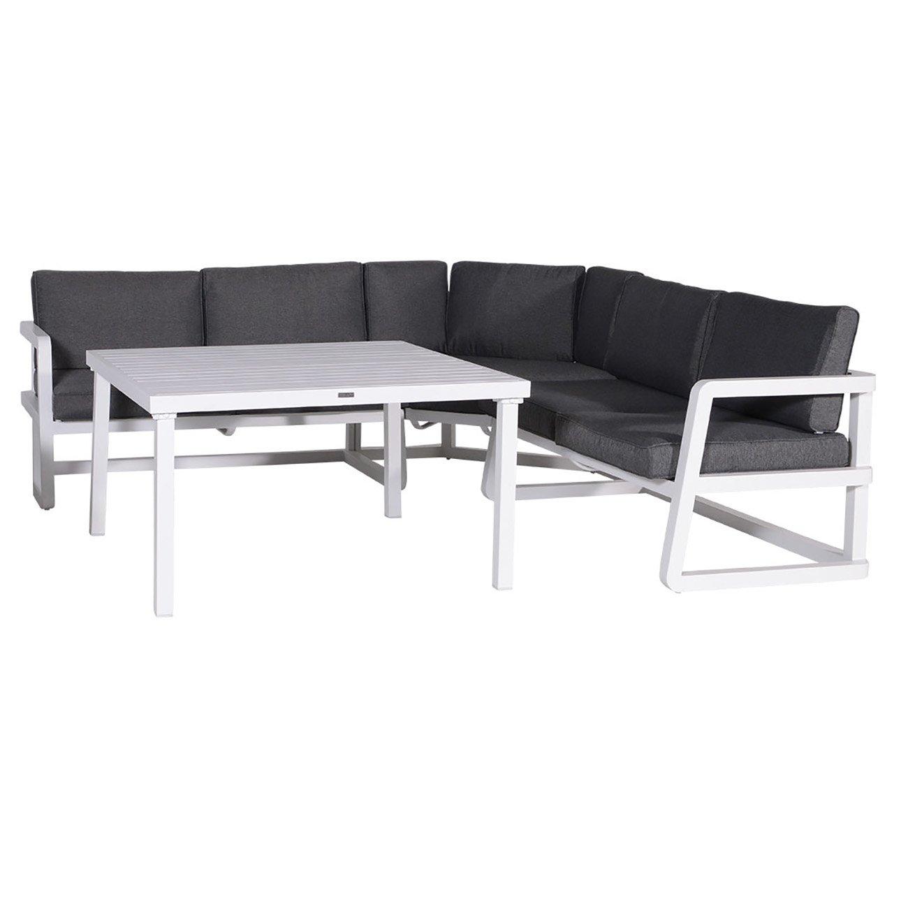 outliv clayton dininglounge 4tlg alumixed white kissen anthrazit lounge set g nstig kaufen. Black Bedroom Furniture Sets. Home Design Ideas