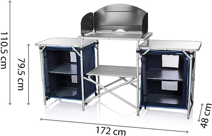 CamPart Travel Cocina de Camping Málaga, con Paravientos, Dos Compartimentos de Almacenamiento, Armario Doble, Unisex Adulto, Azul, 172 x 48 x ...