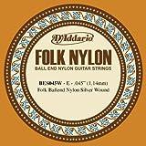 D\'Addario BES045W Folk Nylon Guitar Single String, Silver Wound, Ball End, .045