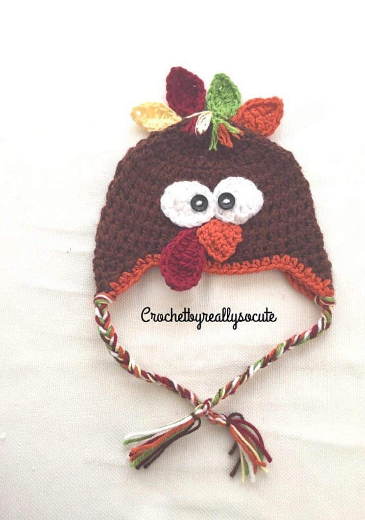 Baby turkey hat, baby winter hat, baby earflap beanie, baby thanksgiving beanie, newborn photo prop, baby turkey, thanksgiving hat
