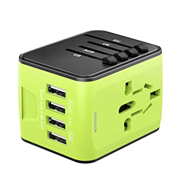 Universal Travel Adapter, International Power Adapter with 4 USB, Travel Plug Adapter for US, EU, UK, AU 180+ Countries, All in One European Adapter for Cell Phone Android iPhone Laptop Tablet(Green)