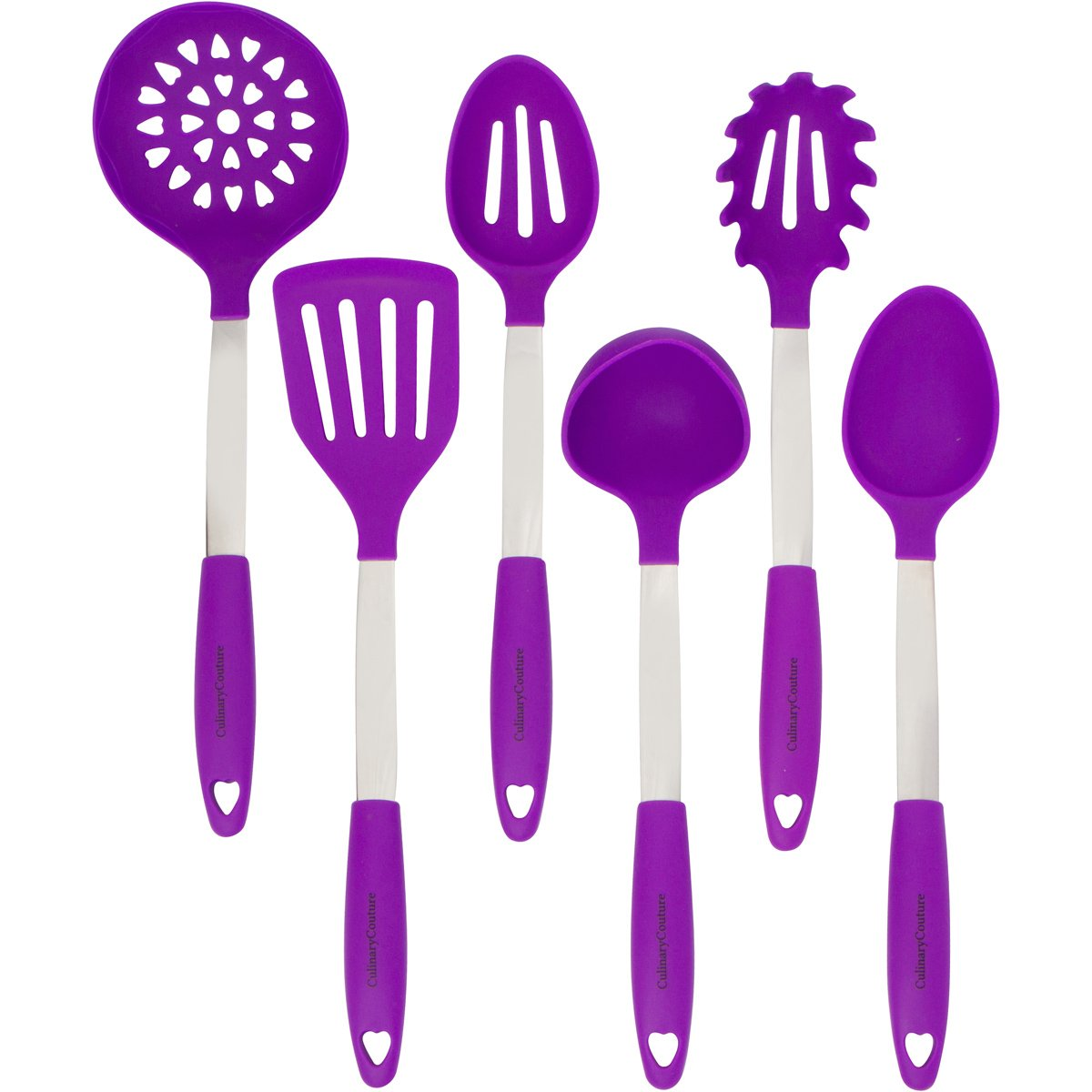 Amazon.com: Culinary Couture Stainless Steel And Silicone Cooking Utensil  Set With Ebook   Purple: Kitchen U0026 Dining