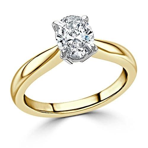 Forever Diamond 14K Yellow Gold oro amarillo talla ovalada blanco excepcional +/incoloro/d