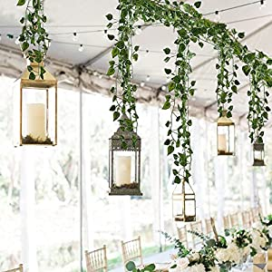 HOGADO Fake Vines, 79 FT Artificial Hanging Plants Silk Golden Devil's Ivy Leaves for Reptiles Wall Livingroom Outdoor Party Festival Decor Pack of 12 2