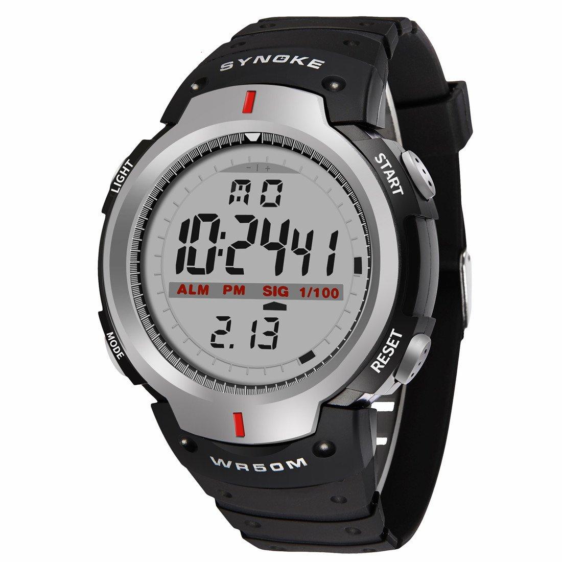 Deportivos Hombre Relojes - Correa de Caucho Multifuncion EL Light Alarma Calendario 12/24 Hora Digital Relojes de Pulsera para Señor Chicos, Gris