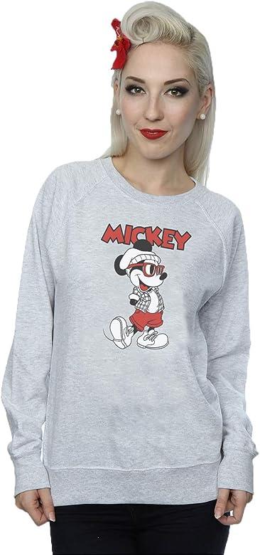 Disney Mujer Mickey Mouse Hipster Camisa de Entrenamiento X-Small Cuero Gris: Amazon.es: Ropa y accesorios