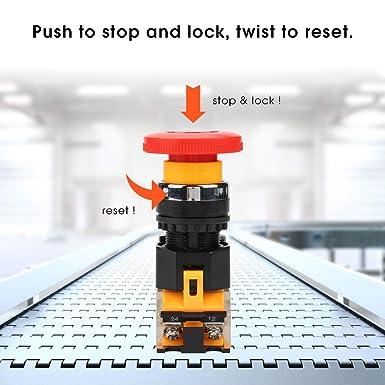 Notschalter Selbsthemmend Not Halt Druckschalter La38 11zs 220 380 V 10a Pilzkopf Momentary Switch Gewerbe Industrie Wissenschaft
