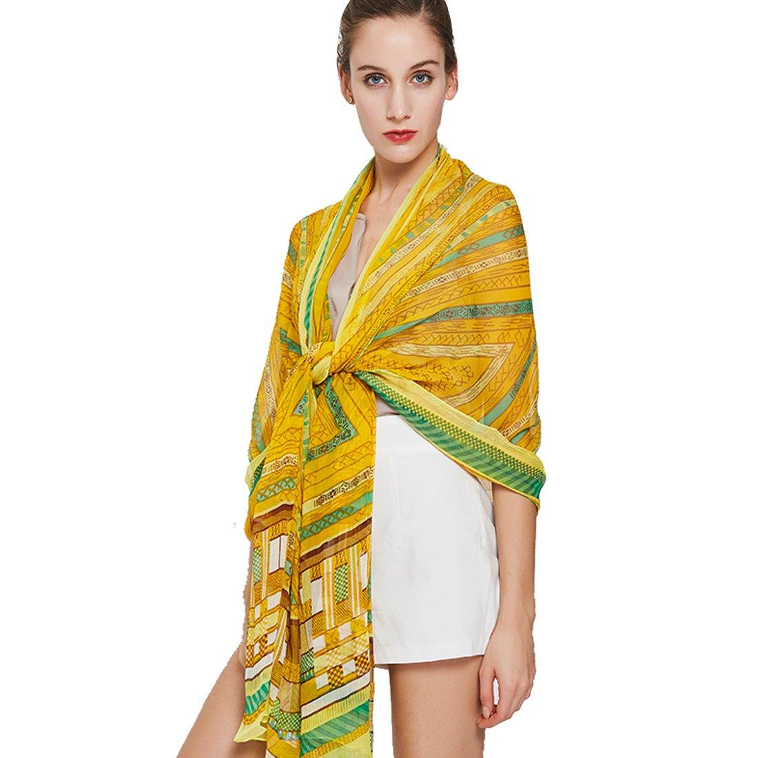 Yellow DANA XU Pure Silk Large Size Pashmina Shawls and Wraps Scarfs for Women