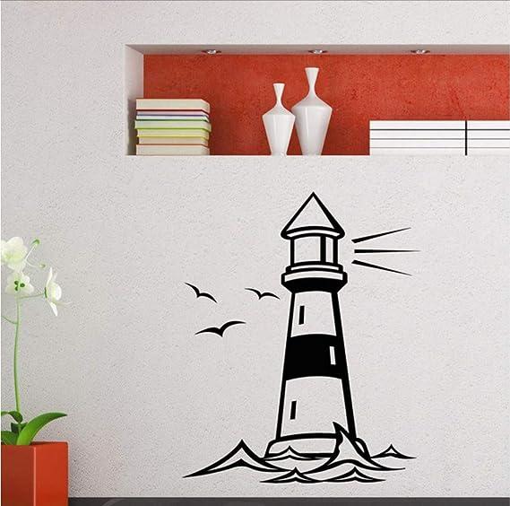 Faro Torre gaviotas Pared Arte Pegatina Vinilo Calcomanía Decoración para el Océano Mar Playa