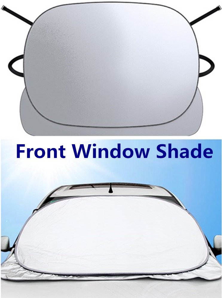 SJDZ Car Front Window Sunshade Vehicle Covers Upgrade Anti - Theft PET Reflection Insulation Aluminum Foil Keep Out The Sun,Rain,Cold Screen Protector