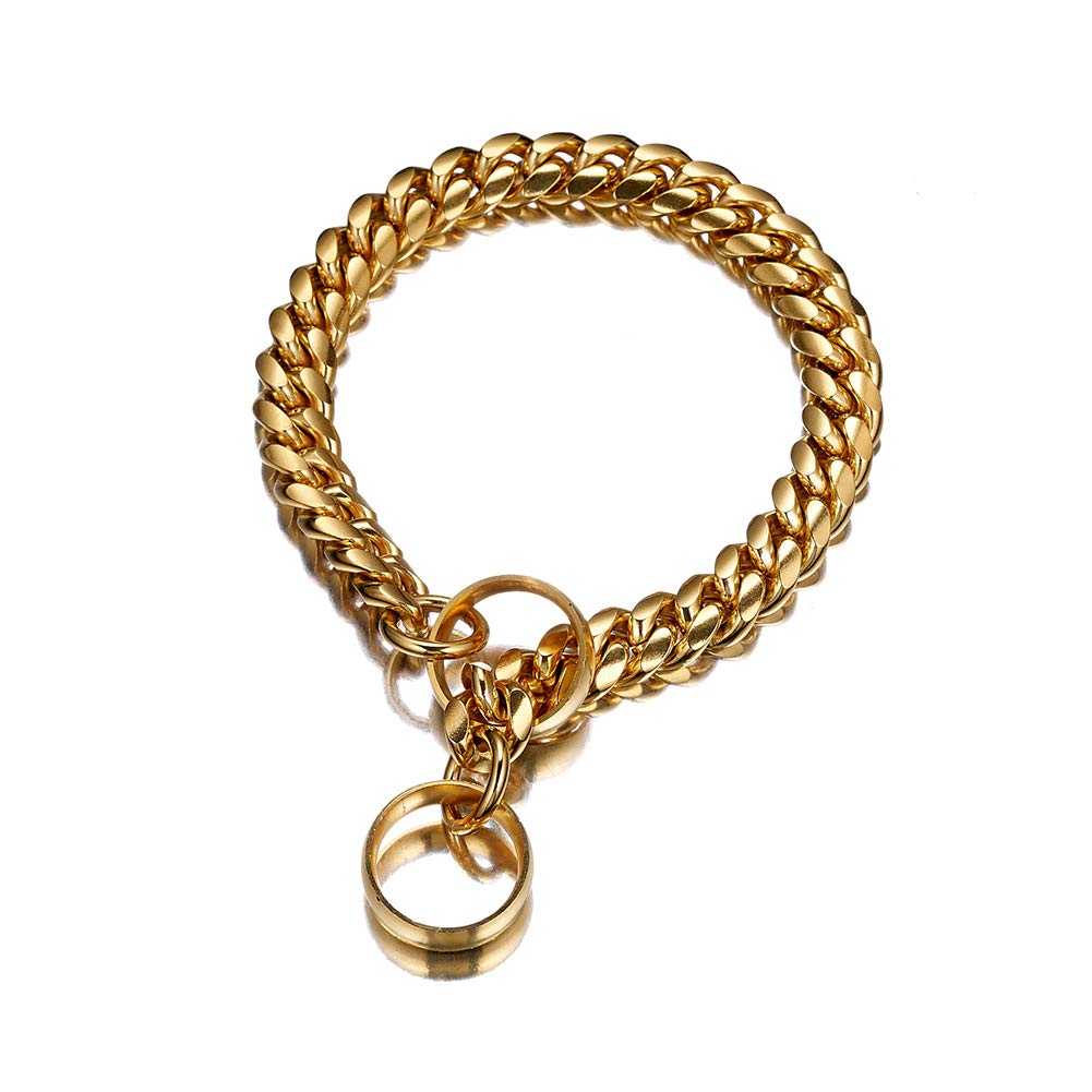 W/W Lifetime 18K Gold Plated Luxurious Miami Cuban Link Large Dog Chain, 316L Stainless Steel Ultra Strong Dog Training Choke Collar
