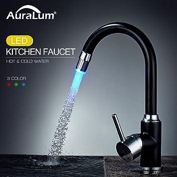auralum 360°-drehung schwarz led küchenarmatur mischbatterie ... - Mischbatterie Küche Schwarz