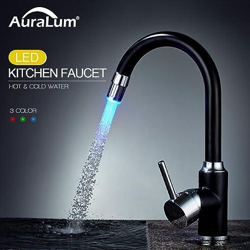 Auralum 360°-Drehung Schwarz LED Küchenarmatur Mischbatterie ...