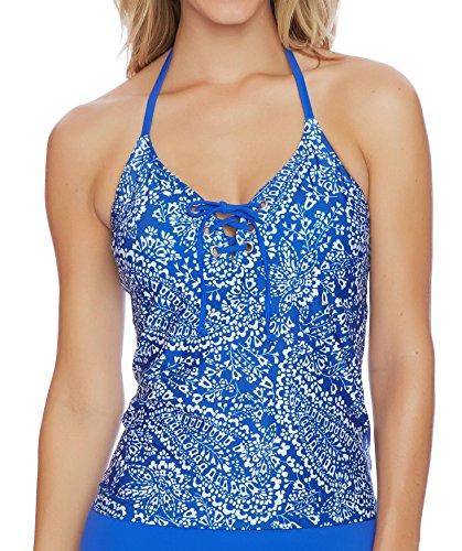 Nautica Women's Cottage Paisley Lace up Tankini, Azure, M (Tankini Nautica Halter)