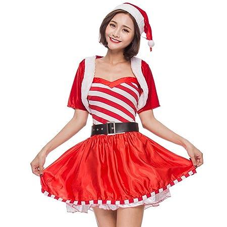 XIADE Traje de Papá Noel para Mujer Conjunto de 3 Piezas Vestido ...