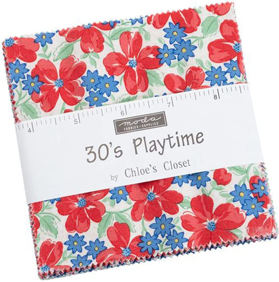 30's Playtime Charm Pack by Chloe's Closet; 42-5 Inch Precut Fabric Quilt Squares