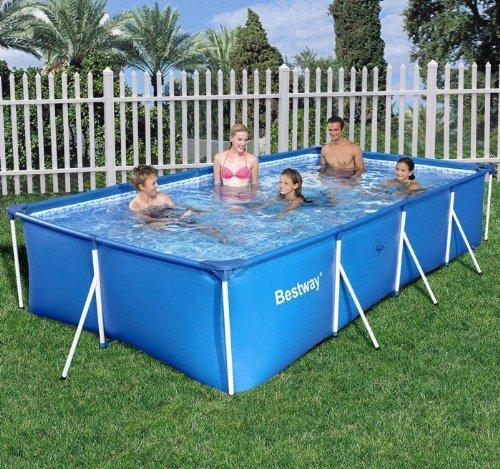 Grande Rectangular 5700l familia jardín nadar agua Splash - marco ...